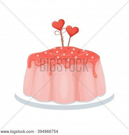 Pink Tasty Glazed Pudding, Confectionery Dessert, Holiday Menu Isolated On White Background. Single