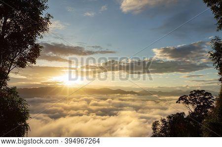 Celestial Mountain Landscape And Dramatic Sky Sunrise Background. Ai Yerweng, Bethong, Yala, Thailan