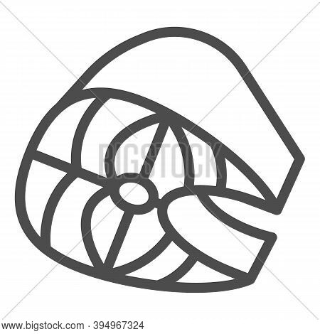 Piece Of Salted Herring Line Icon, Fish Market Concept, Fish Slice Sign On White Background, Slice O