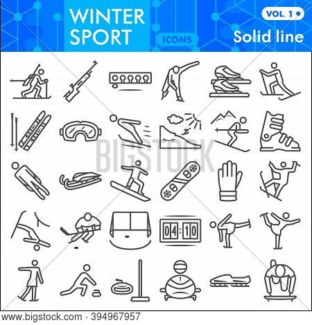 Winter Sport Line Icon Set, Tools Of Winter Sports Symbols Collection Or Sketches. Extreme Sports Li
