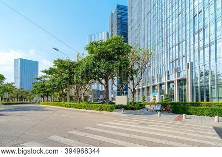 Central Business District, Roads And Skyscrapers, Xiamen, China.