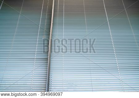 Close Up On Window Blind Curtain In Office Room