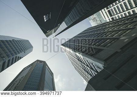 View Of Modern Business Skyscrapers Glass And Sky View Landscape Of Commercial Building In Central C