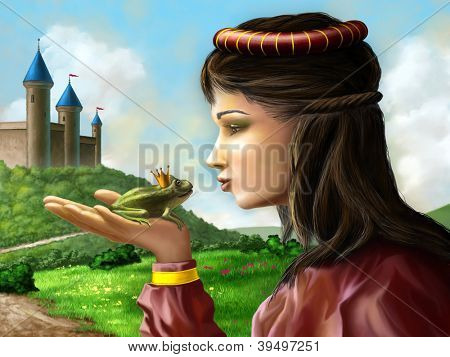 Young princess kissing a frog sitting on her hand. Digital illustration.