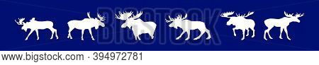 Set Of Deer Or Caribou Cartoon Icon Design Template With Various Models. Modern Vector Illustration