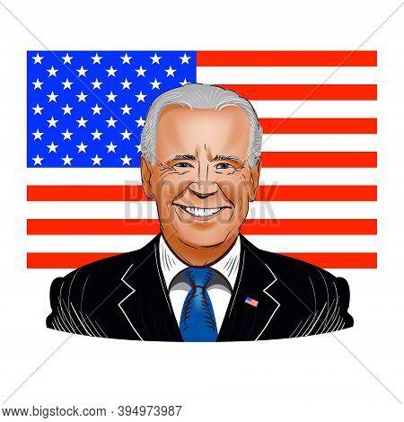 November 15, 2020: Vector Illustration Of Joseph Robinette Biden, Jr.