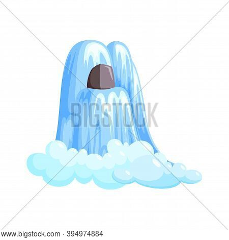 Waterfall Cascade In Splashing Down With Foam. Cascade Of Water Isolated In White Background. Vector