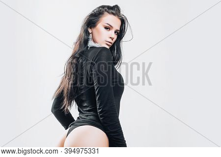 Temptation. Sensual Woman With Sexy Body. Passion Girl With Long Brunette Hair. Very Good Results. D