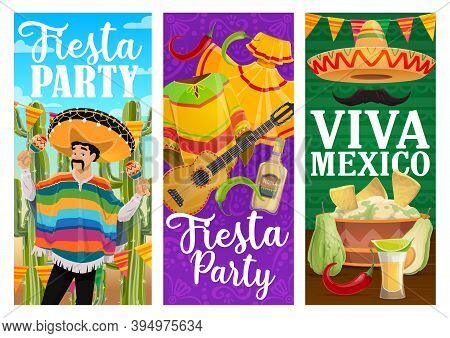 Viva Mexico Fiesta Party Vector Banners With Mexican Holiday Food And Carnival Mariachi. Musician Ch