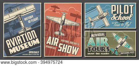 Aviation Museum, Flight School And Air Tour Retro Banners. Airplanes History Exhibition, Air Show An