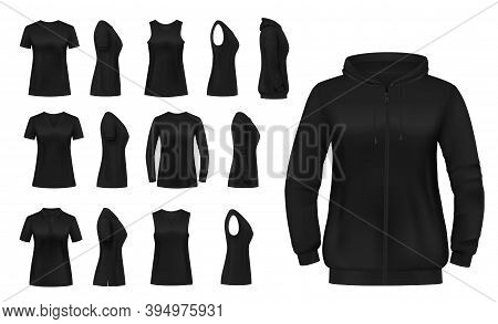 Women Clothes Isolated Vector Tshirt, Hoodie And Longsleeve Shirts With Singlet Apparel Mockup. Real