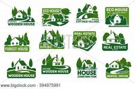 Wooden Eco Houses, Real Estate Buildings Vector Icons. Cottage Symbols With Green Trees And Lawn, Ga