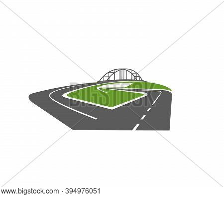 Highway Road With Bridge And Level Junction Icon. Freeway Or Driveway With Ramp Intersection And Gra