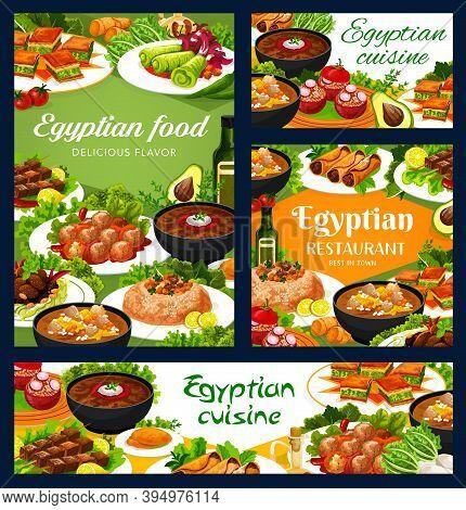 Egyptian Cuisine Food Vector Banners. Sweet Baklava Dessert, Sardine Patties And Tomatoes Stuffed Wi