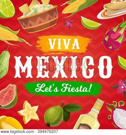 Viva Mexico Fiesta Party Food And Drink Vector Background Of Mexican Holiday Greeting Card. Corn Tor