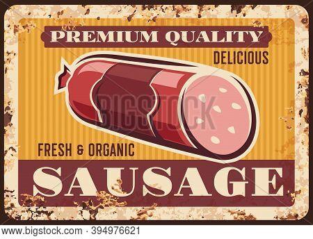 Premium Sausage Rusty Metal Vector Plate With Sliced Salami Kielbasa. Vintage Rust Tin Sign With Del