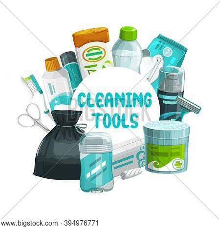 Cleaning Tools Round Frame. Vector Hygiene Stuff Shaving Foam, Razor Blade, Toothpaste And Wipes Pac