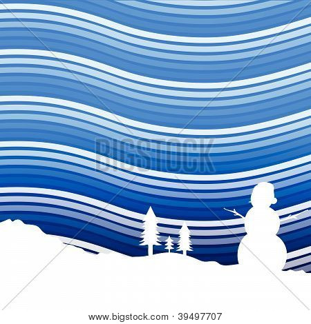 Winter Background Vector Illustration With Snowman