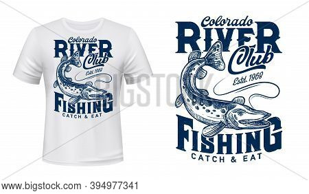 Pike On Rod Line T-shirt Vector Print. Northern Pike, River Or Lake Carnivorous Fish Eating Bite, Fi