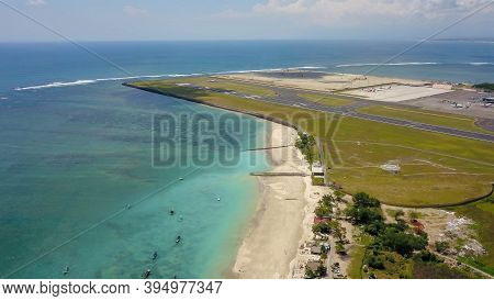 Aerial View Of The Runway From The Top Of The Tower Of The International Airport Controls Bali With