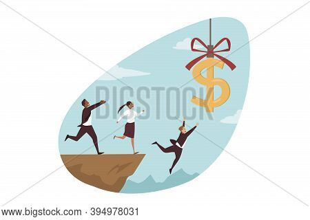 Business Failure, Bankruptcy, Money Concept. Team Of Businessmen Woman Clerks Managers Cartoon Chara