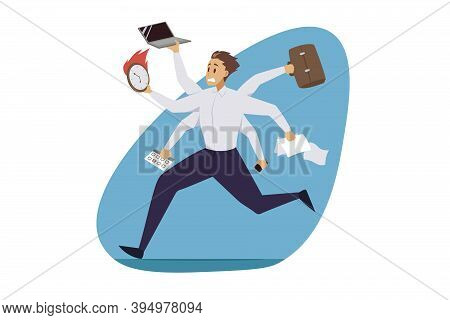 Multitasking, Business Efficiency, Professional Competence Concept. Hurry Overloaded Businessman Cle