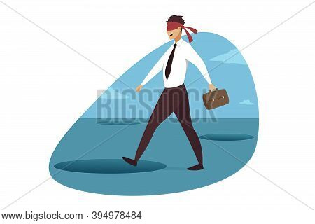 Business Crisis, Danger, Trap Concept. Young Smiling Blind Businessman Clerk Manager Walking With Ba