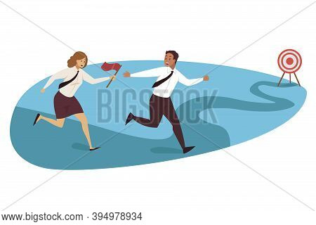 Relay Race, Targeting, Teamwork Business Concept. Goal Achievement And Success Motivation Competitio