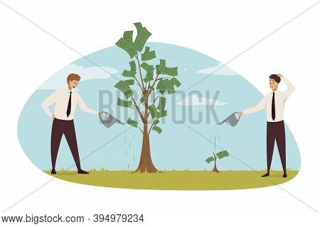 Investment, Business, Profit Growth Concept. Businessmen Clerks Characters Investing Time Money For