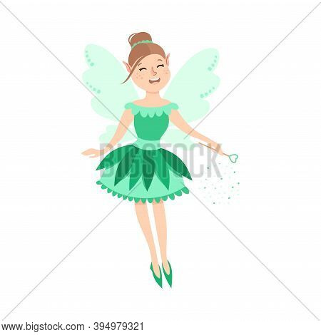 Cute Girl Fairy With Magic Wand, Happy Adorable Winged Elf Princesses In Green Dress Cartoon Style V
