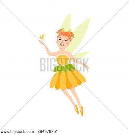 Cute Girl Fairy With Butterfly, Lovely Flying Winged Elf Princesses In Orange Pretty Dress Cartoon S