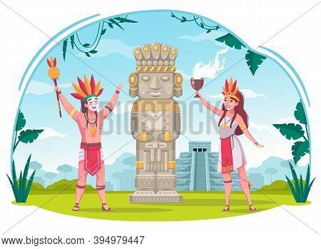 Maya Civilization Cartoon Concept With Ancient Culture Symbols Vector Illustration