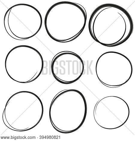 Set Hand Drawn Ovals, Felt-tip Pen Circles. Rough Vector Doodle Frame Elements. Black Color.