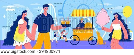 Amusement Park Composition With Doodle Human Characters Of Funfair Visitors With Fairground Rides An