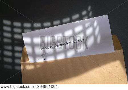 Letter To Tenant For Eviction Notice, Inside An Envelope