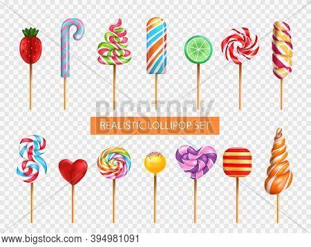 Lollipop Candy Various Taste Flavor Shape Spiral Rainbow Heart Strawberry Lime Transparent Backgroun