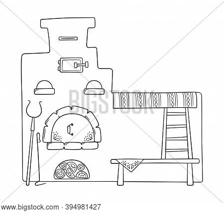 Hand Drawn Traditional Russian Stove With Bed, Grip, Poker And Bench. Vector Illustration In Doodle