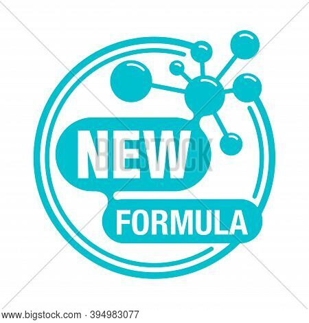 New Formula Circular Stamp With Molecular Cell Inside - Isolated Vector Sticker For Packaging Inform