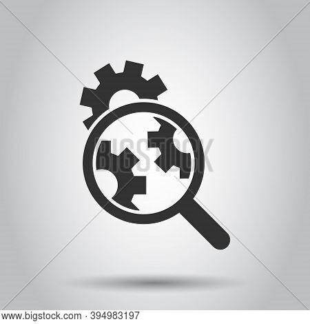 Loupe With Gear Icon In Flat Style. Magnifying Glass Vector Illustration On White Isolated Backgroun