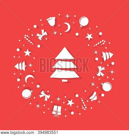 Christmas White Symbols Are Randomly Arranged On A Red Background In The Form Of A Circle. Inside Th