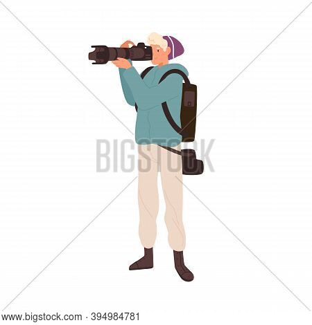 Professional Reporter Photographing With Long Focus Telephoto Lens. Young Male Photographer Taking P