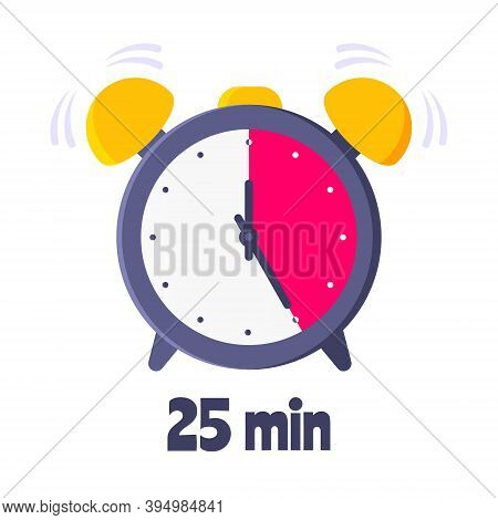Twenty Five Minutes On Analog Clock Face Flat Style Design Vector Illustration Icon Sign Isolated On