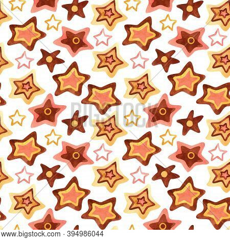 Watercolor Seamless Pattern With Stars On White. Perfect Decoration For Kids Playroom And Bedroom, W