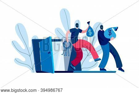 Two Hackers Take Out Bags Of Money From An Open Laptop. Vector Illustration On The Topic Of Cybercri