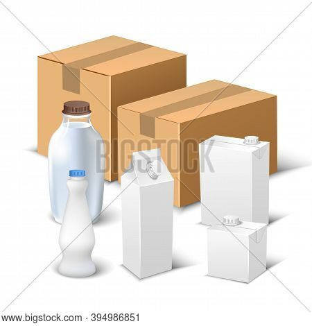 Vector Composition Of Realistic Milk Packaging Templates On White Background. White Creative Milk Pa