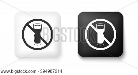 Black And White No Alcohol Icon Isolated On White Background. Prohibiting Alcohol Beverages. Forbidd