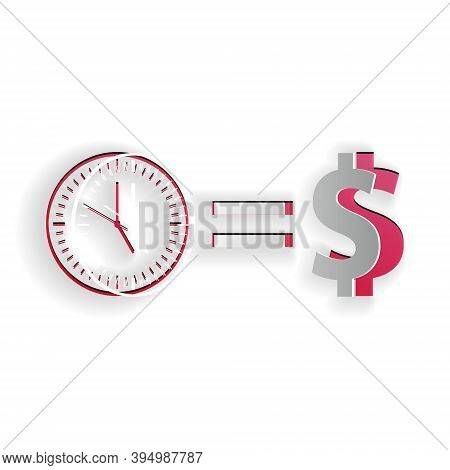 Paper Cut Time Is Money Icon Isolated On White Background. Money Is Time. Effective Time Management.