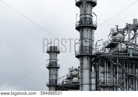 Gas Turbine Electrical Power Plant. Energy For Support Factory. Natural Gas Tank. Chimney Tower Of G