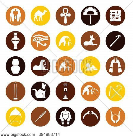 Egypt Symbols Simple Icons Set. Vector Egypt Symbols Simple Icons Collection Isolated On White Backg
