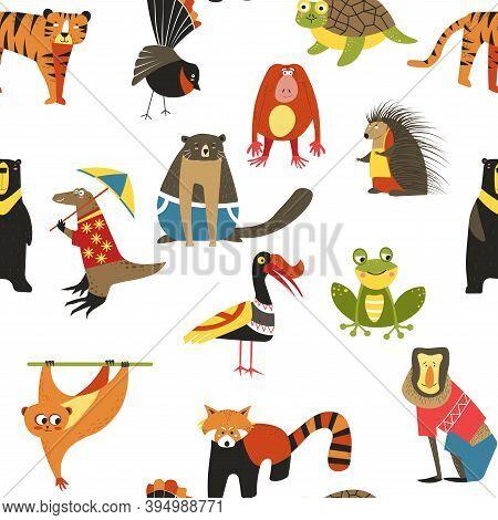 Exotic Animals Variety Seamless Pattern, Lemur And Hedgehog